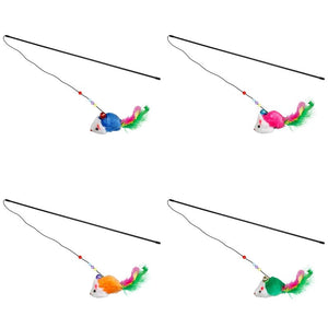 Chasing Interactive Colorful Feather Cat Toy