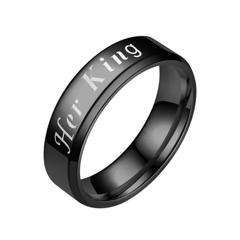 Vintage Stainless Steel Ring Mens and Womens Her King/His Queen Printed Jewelry Wedding Gift Band Ring for Lovers