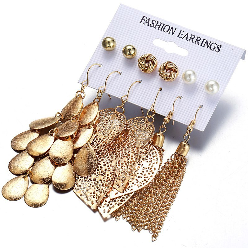 6 Pairs/Sets Vintage Gold Color Leaves Long Tassel Simulated Pearl Stud Earrings Set For Women New Brincos Jewelry