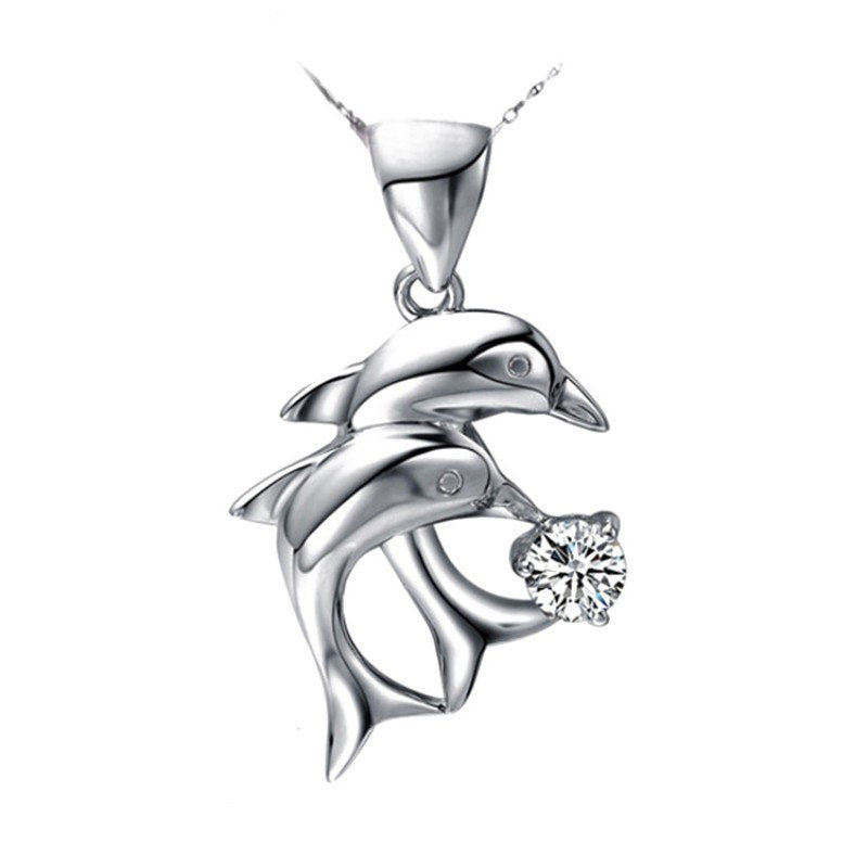 Double Dolphin Rhinestone Pendant Necklaces