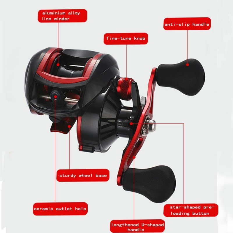 fishing Left / right hand Baitcasting Reel G ratio 8.1:1 Boat Bait Casting Fishing Reels carp Carretilha Pesca Fishing tackle