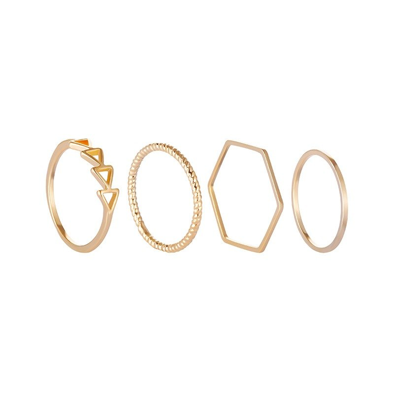 Simple Wave Irregular Tail Ring 4Pcs/Set