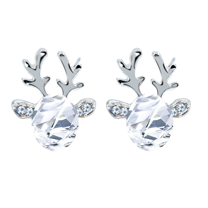 Christmas Reindeer Elk Crystal Gem Antler Stud Earrings