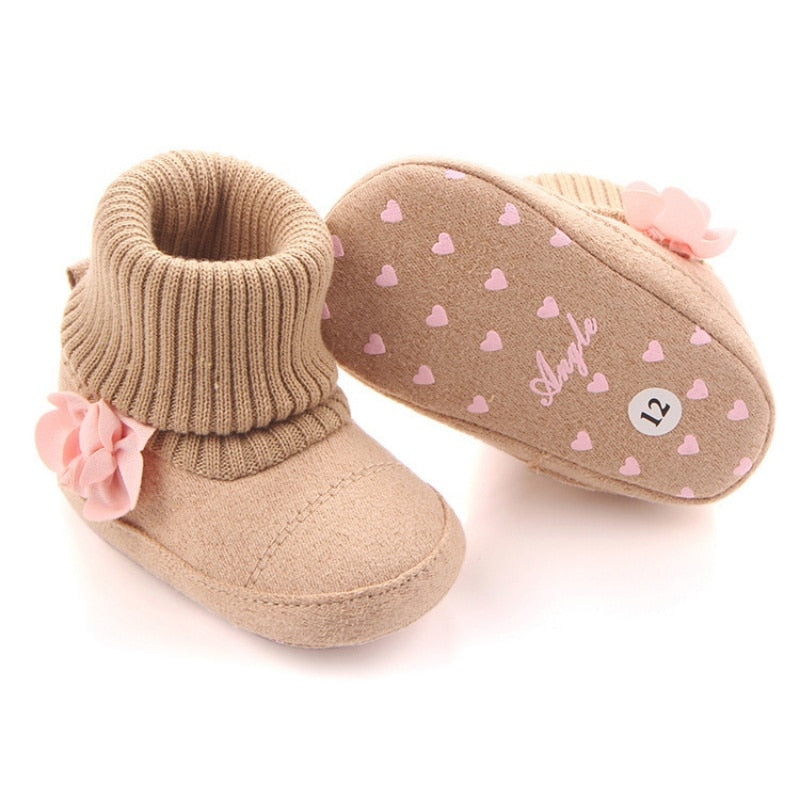 Autumn Winter Baby Girl Knitted Snow Boots