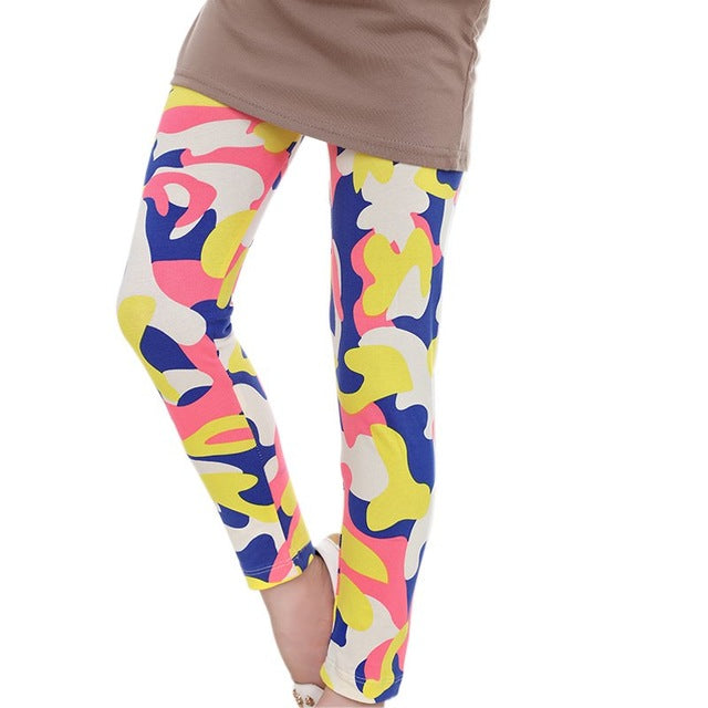 Kids Girls Flower Printed Leggings Long Trousers