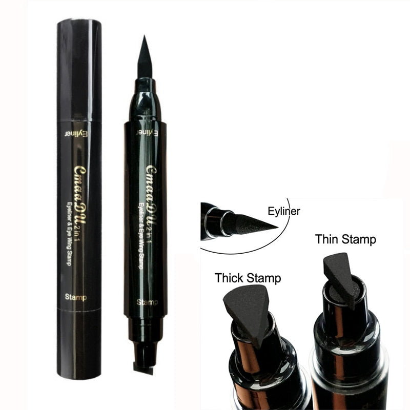 HUAMIANLI Waterproof Double Head Liquid Eyeliner Stamp