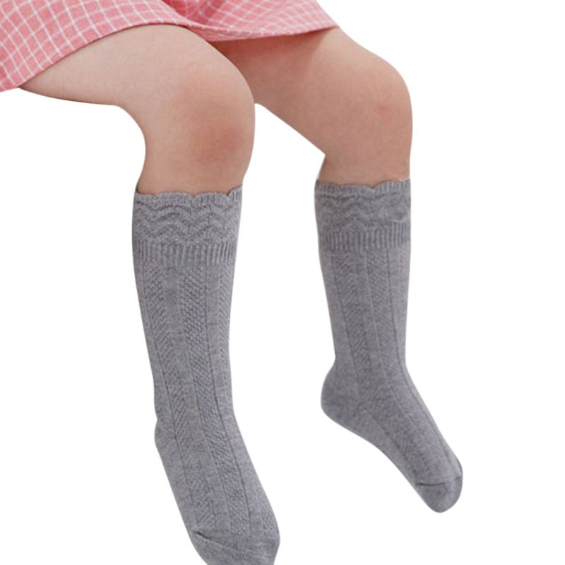 Toddler Baby Girls Solid Cotton Knee High Socks