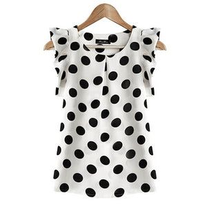 Womens Chiffon Puffed Short Sleeve Dot Printed Blouse