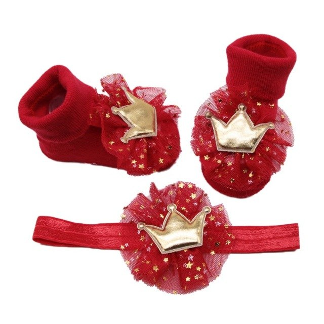 Baby Girl Lace Cotton Socks with Crown Hairband