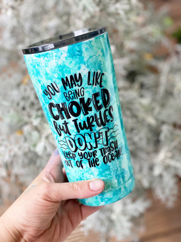 Save the turtles water color tumbler