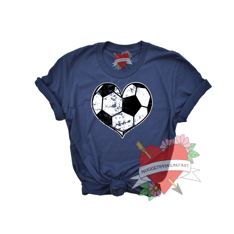 Distressed Soccer Heart Shirt