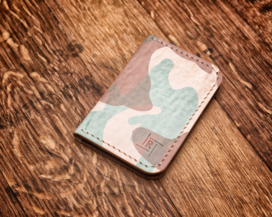Vertical Wallet | Natural Ghost Camo & Medium Brown