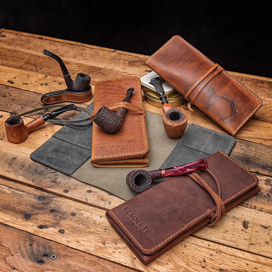 Full Grain Leather Pipe Rolls, pouches and pipe accessories.