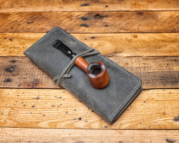 leather pipe pouch, leather pipe roll, tobacco pouch