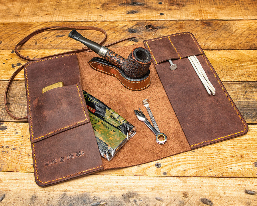 Virginia Leather Pipe Roll | Worn Saddle