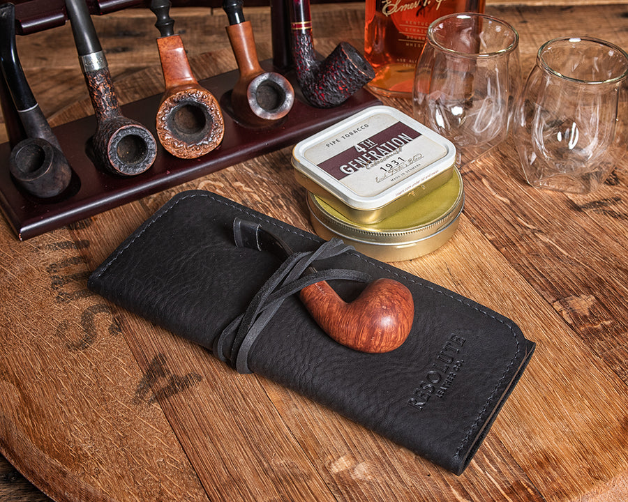 Virginia Leather Pipe Roll | Black Pebble