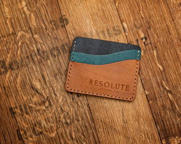 №  5 Wallet in Pueblo-Veg Tanned Leather Card Holder in Navy Blue, Ortensia, and Cognac