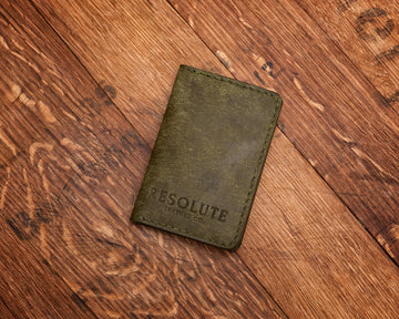 Leather Vertical Wallet, Olive Green