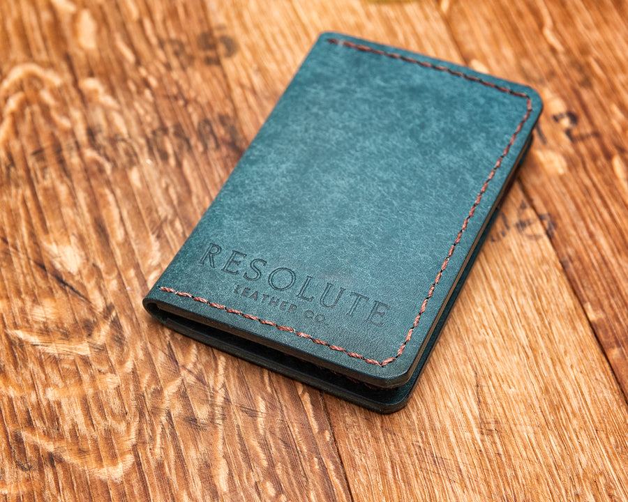 Leather Vertical Wallet, Ortensia and Tobacco