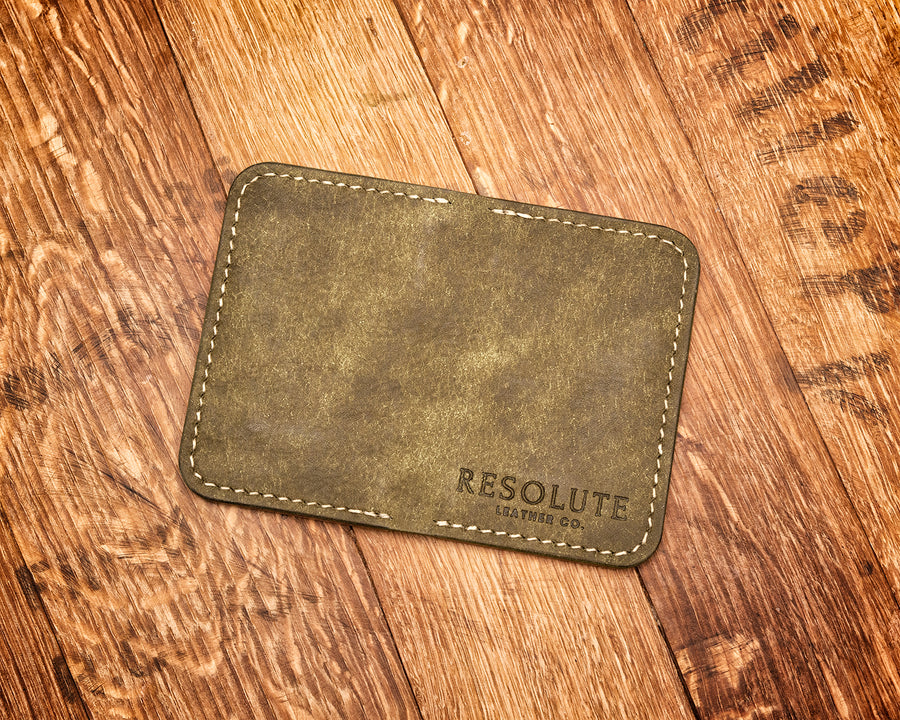 Olive Green Leather Front Pocket Vertical Wallet, with Brown Interior