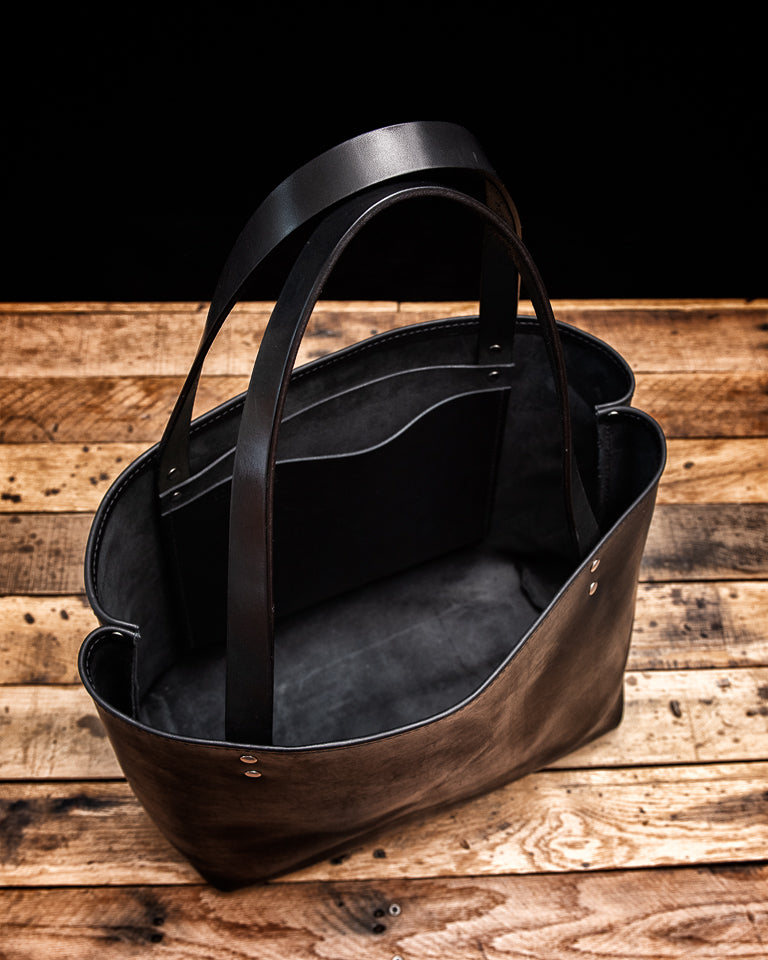 Lola Black Harvest Leather Tote Bag, interior view