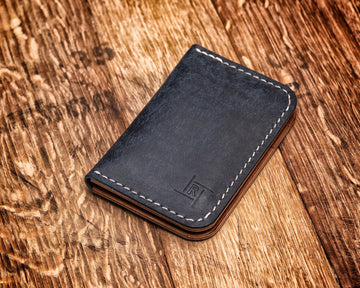 Vertical Wallet | Pueblo Navy & Medium Brown