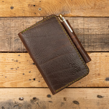 Leather Field Notes Wallet, Handmade Leather Wallet with Pen Holder