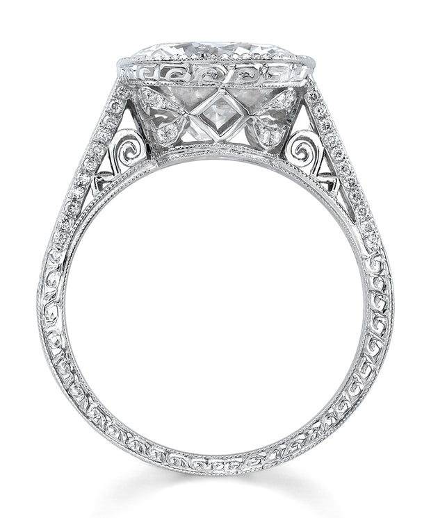 Neil Lane Couture Design Round Brilliant-Cut Diamond, Platinum Ring