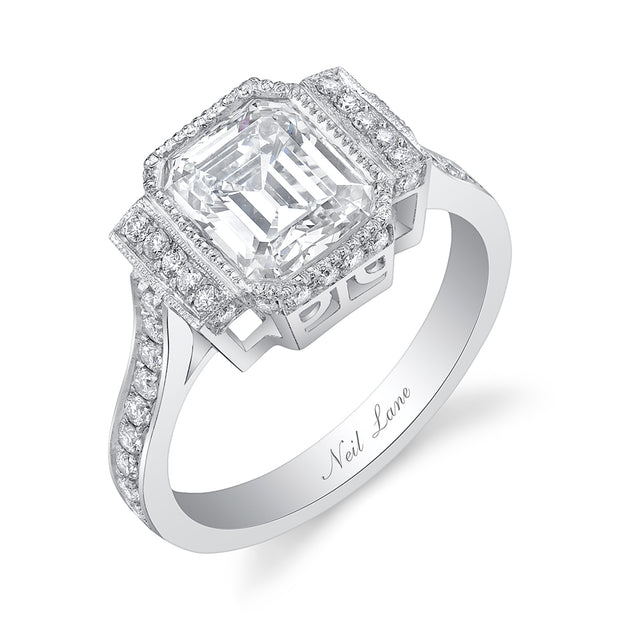 NEIL LANE EMERALD-CUT DIAMOND, PLATINUM RING