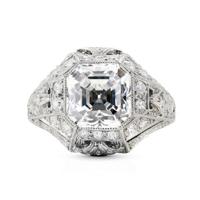 TIFFANY & CO., ART DECO ASSCHER-CUT DIAMOND, PLATINUM RING