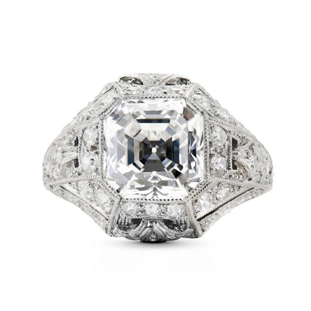 TIFFANY & CO. ART DECO SQUARED STEP CUT DIAMOND, PLATINUM RING