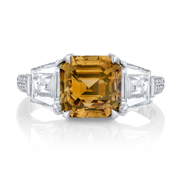 NEIL LANE FANCY COLOR SQUARE EMERALD-CUT, PLATINUM RING
