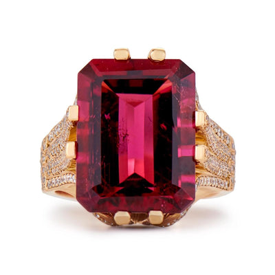 Neil Lane Couture Rubellite, Diamond, 18K Yellow Gold Ring