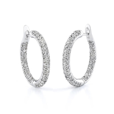 NEIL LANE PAVE DIAMOND, 18K WHITE GOLD HOOP EARRINGS
