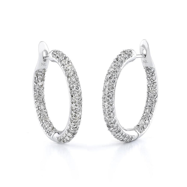 Round Cut Diamond Pave Hoop Earrings in White Gold