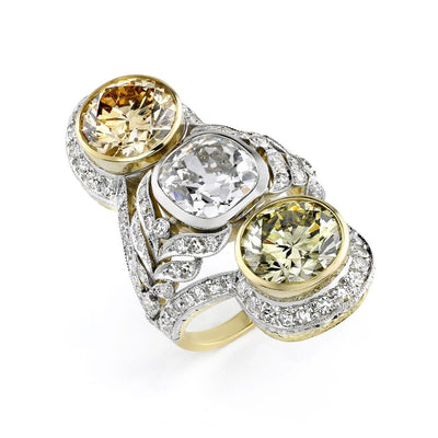 Neil Lane Couture Fancy Color Diamond, Platinum, Gold Three Stone Ring