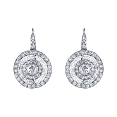 NEIL LANE DIAMOND, PLATINUM GREEK KEY PATTERN EARRINGS