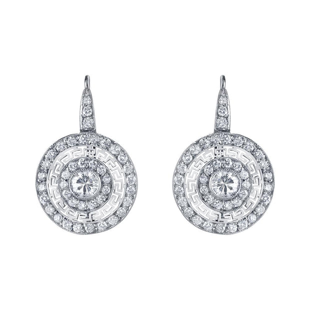 Neil Lane Couture Diamond, Platinum Greek Key Pattern Earrings