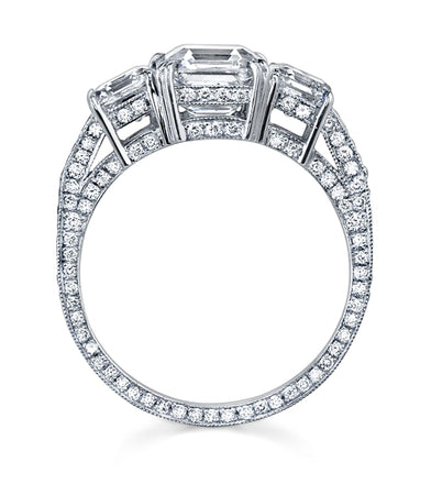 "NEIL LANE COUTURE DESIGN ""THREE STONE""  SQUARE EMERALD CUT DIAMOND, PLATINUM RING"