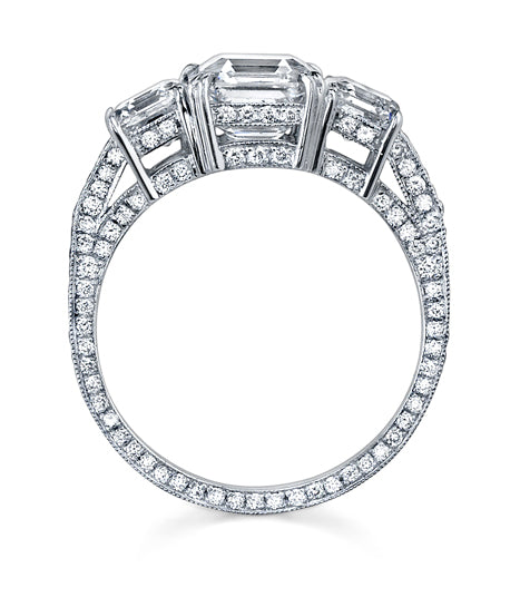 "NEIL LANE ""THREE STONE""  SQUARE EMERALD CUT DIAMOND, PLATINUM RING"