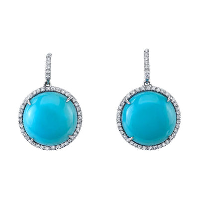 Pair of Turquoise, Diamond, 14k White Gold Earrings