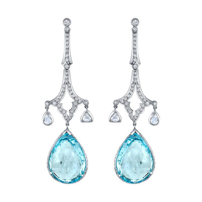 NEIL LANE BLUE TOPAZ, DIAMOND, 14K WHITE GOLD EARRINGS