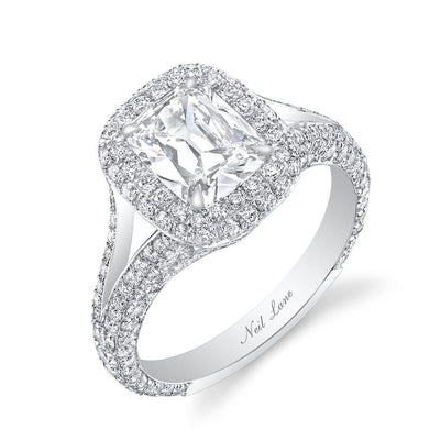 NEIL LANE COUTURE DESIGN CUSHION DIAMOND, PLATINUM ENGAGEMENT RING