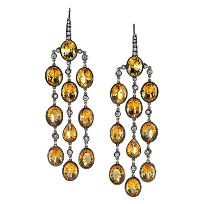 NEIL LANE CITRINE, DIAMOND, SILVER, GOLD EARRINGS