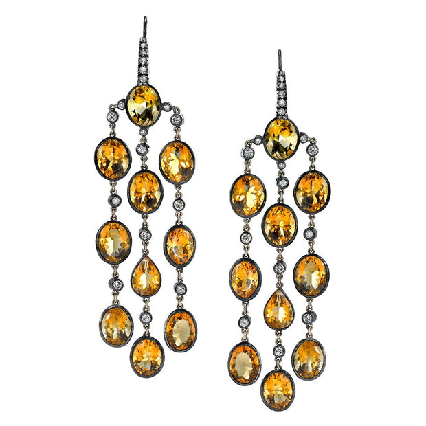 Neil Lane Couture Citrine, Diamond, Silver, Gold Earrings