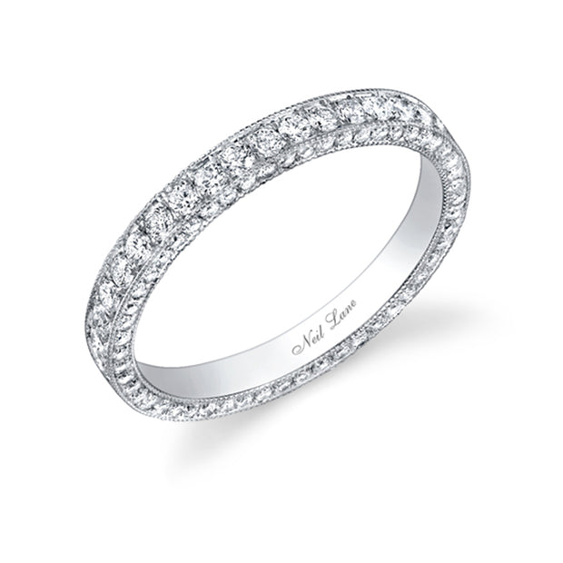 3-Sided Vintage Style Diamond & Platinum Band