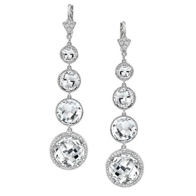 NEIL LANE DIAMOND, WHITE TOPAZ, PLATINUM EARRINGS