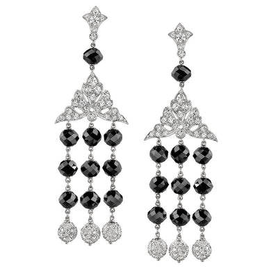 NEIL LANE ART DECO STYLE BLACK & WHITE DIAMOND, PLATINUM CHANDELIER EARRINGS
