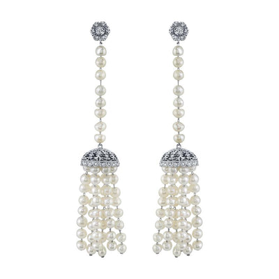 ART DECO NATURAL PEARL, DIAMOND, PLATINUM PENDANT EARRINGS