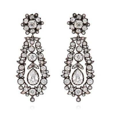 PAIR OF ANTIQUE DIAMOND, SILVER & GOLD EARRINGS